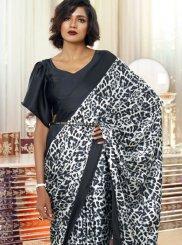 Faux Crepe Printed Black Casual Saree