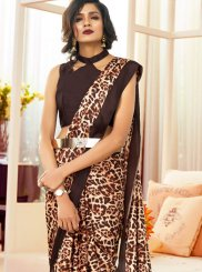 Faux Crepe Printed Brown Casual Saree