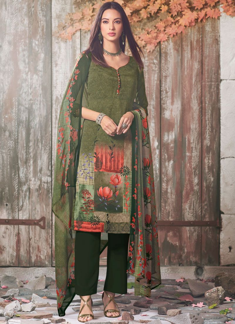 Faux Crepe Printed Green Pant Style Suit