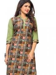 Faux Crepe Printed Multi Colour Casual Kurti
