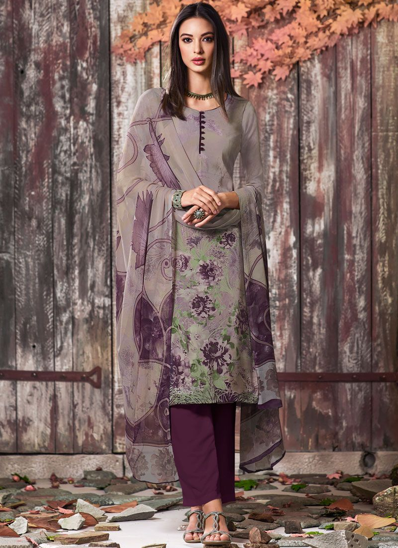 Faux Crepe Printed Multi Colour Pant Style Suit
