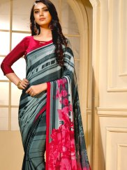 Faux Crepe Printed Multi Colour Trendy Saree
