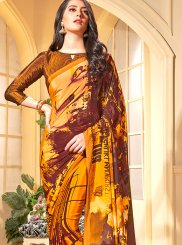 Faux Crepe Printed Orange Trendy Saree