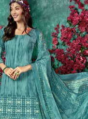 Faux Crepe Printed Salwar Kameez in Blue
