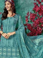 Faux Crepe Printed Salwar Kameez in Blue