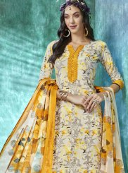 Faux Crepe Printed Salwar Suit