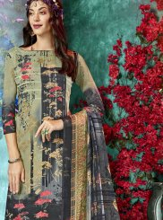Faux Crepe Printed Salwar Suit in Green and Grey