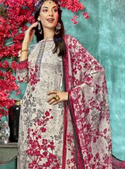 Faux Crepe Printed Salwar Suit in Grey and Off White