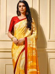 Faux Crepe Printed Trendy Saree