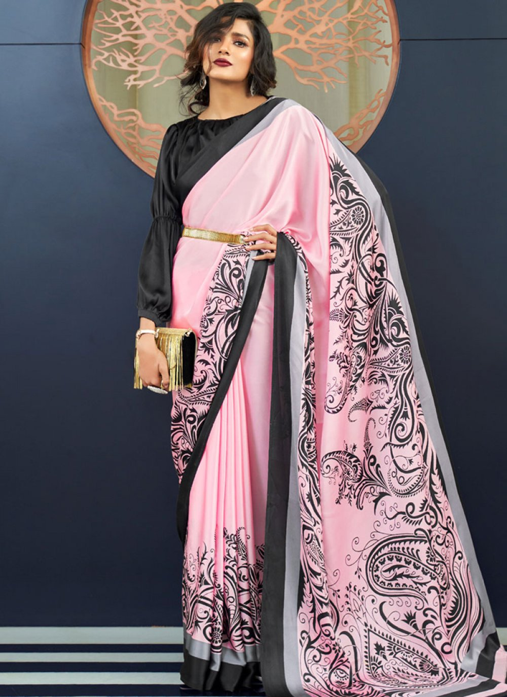Faux Crepe Rose Pink Casual Saree