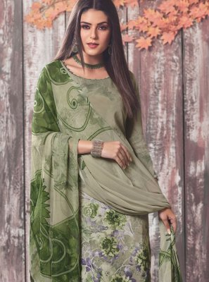 Faux Crepe Sea Green Printed Pant Style Suit