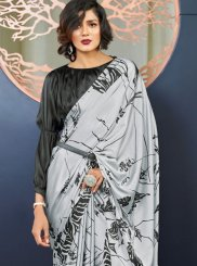 Faux Crepe Silver Printed Casual Saree
