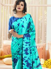 Faux Crepe Turquoise Printed Casual Saree