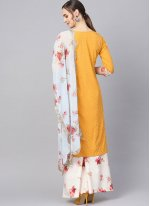 Faux Crepe Yellow Print Readymade Suit