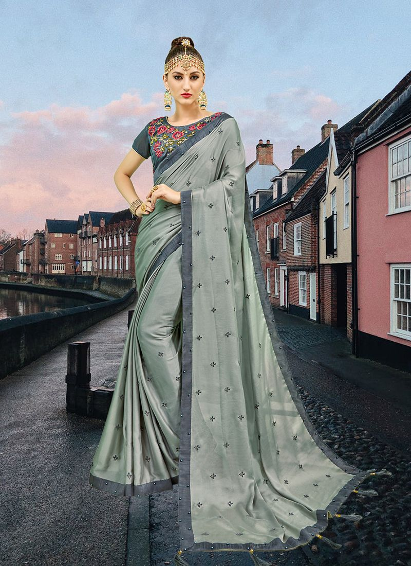 Faux Georgette Abstract Print Printed Saree in Grey