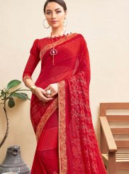 Faux Georgette Abstract Print Red Printed Saree