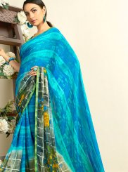 Faux Georgette Aqua Blue Casual Saree