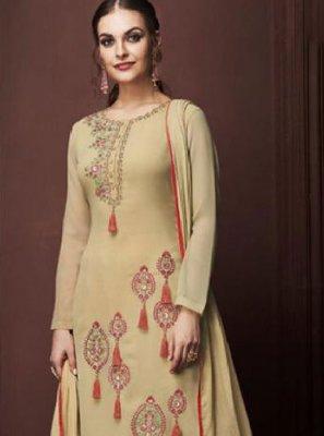 Faux Georgette Beige Designer Pakistani Suit