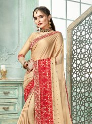 Faux Georgette Beige Designer Traditional Saree