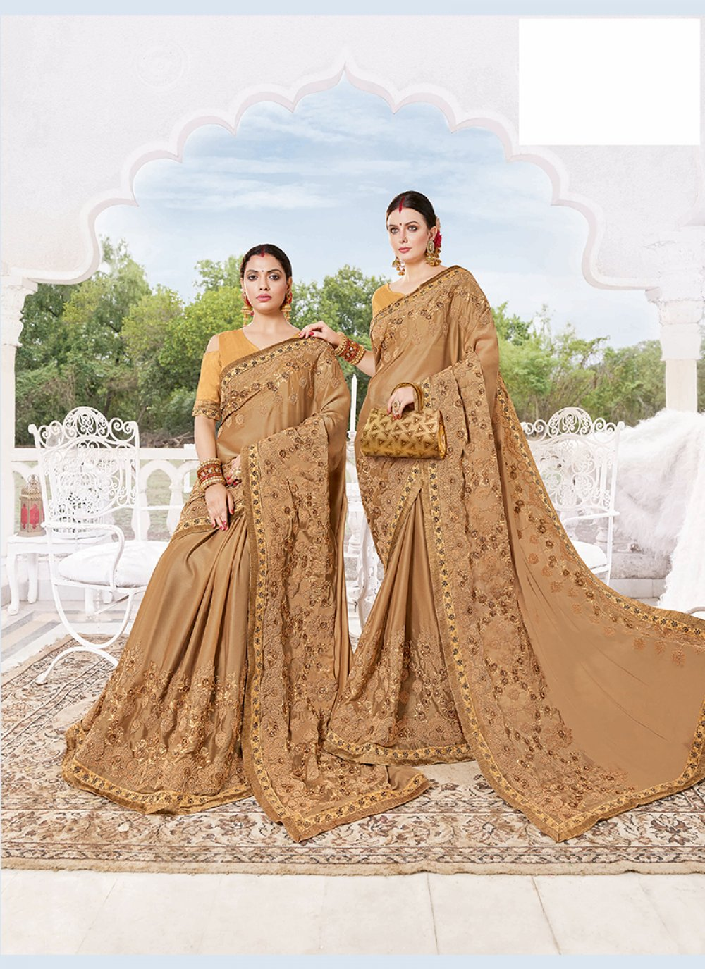 Faux Georgette Beige Embroidered Designer Traditional Saree