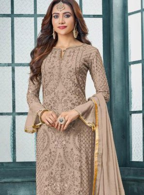 Faux Georgette Beige Embroidered Trendy Pakistani Salwar Suit