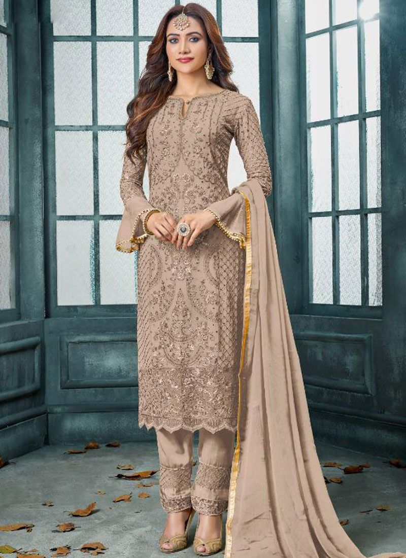 Faux Georgette Beige Embroidered Trendy Pakistani Salwar Suit
