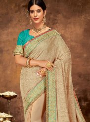 Faux Georgette Beige Patch Border Classic Designer Saree