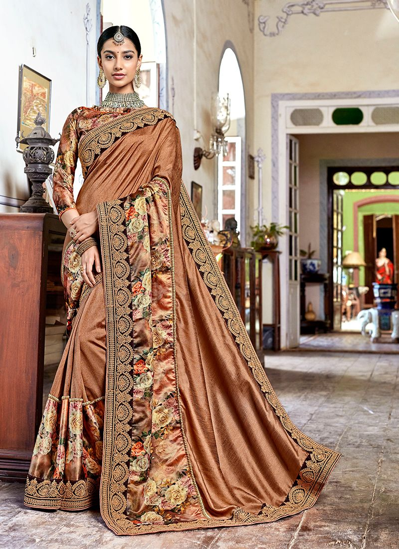 Faux Georgette Beige Patch Border Saree