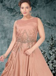 Faux Georgette Beige Resham Readymade Gown