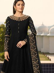 Faux Georgette Black Anarkali Salwar Suit