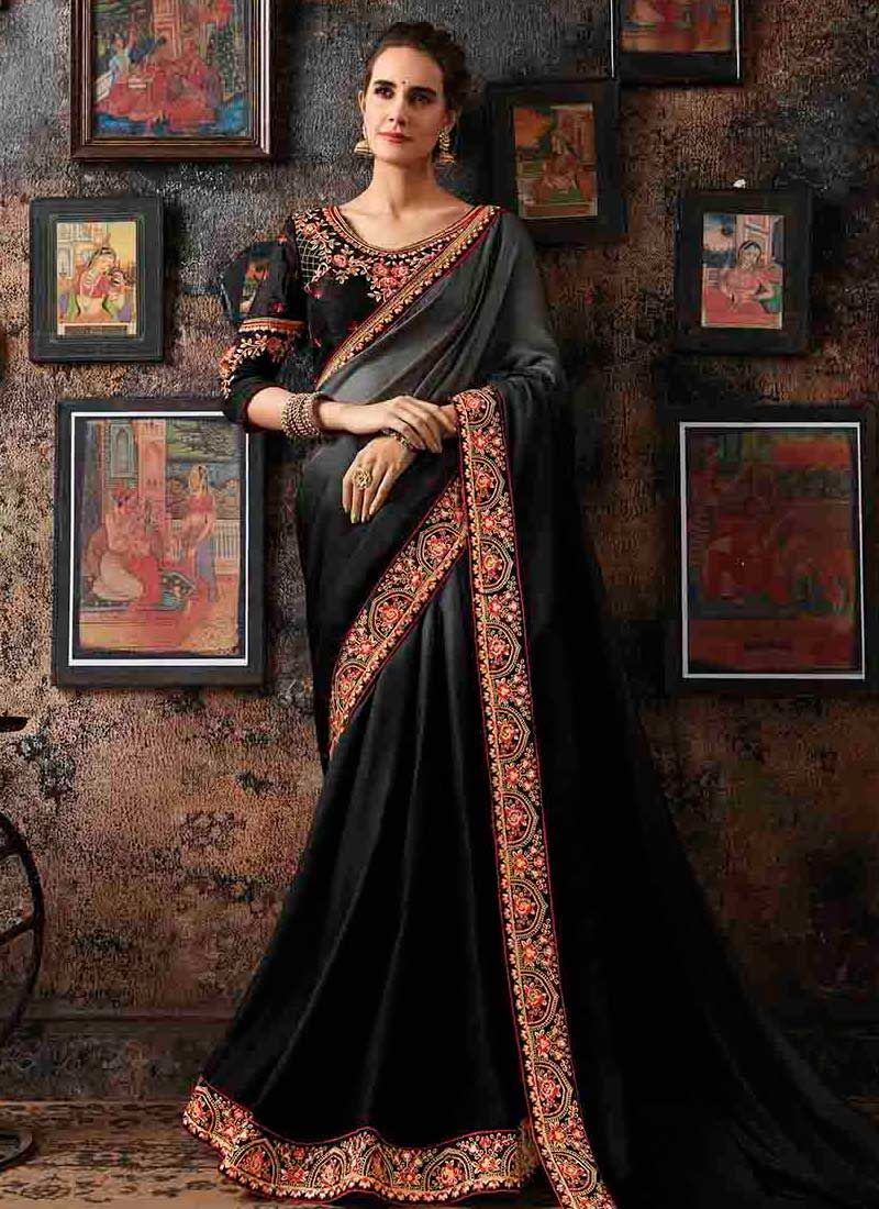 Faux Georgette Black and Grey Patch Border Shaded Saree