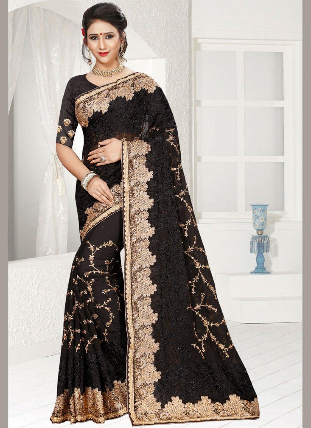 Faux Georgette Black Classic Designer Saree