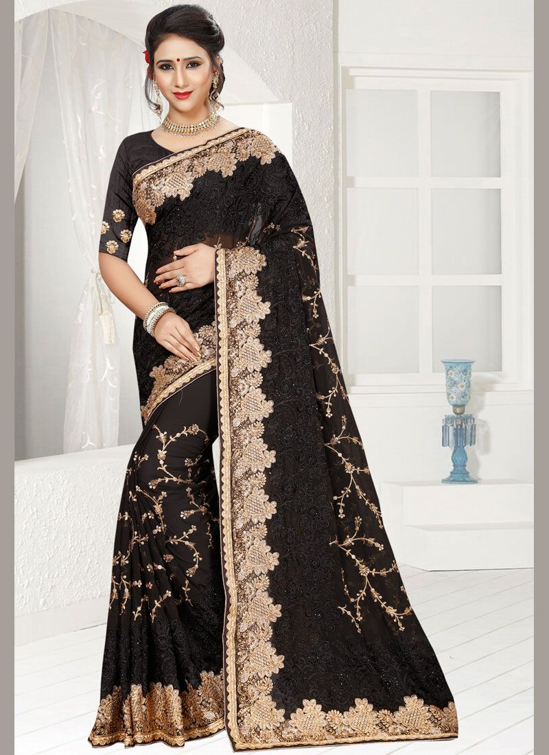 Faux Georgette Black Classic Designer Saree