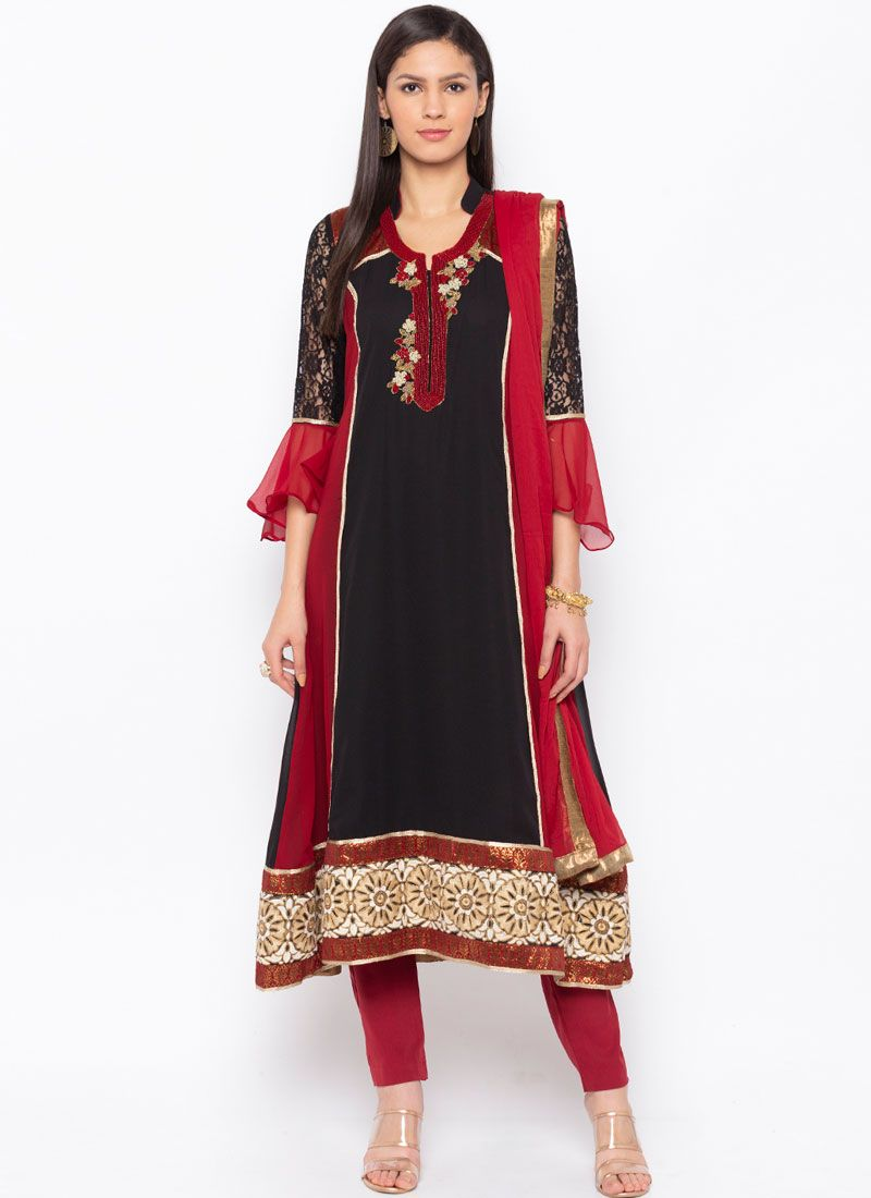 Faux Georgette Black Embroidered Readymade Suit