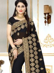Faux Georgette Black Embroidered Saree