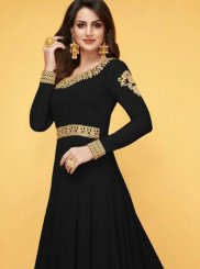 Faux Georgette Black Floor Length Anarkali Suit