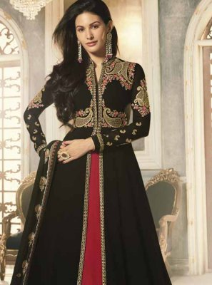 Faux Georgette Black Long Choli Lehenga