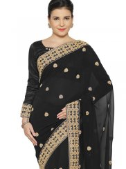 Faux Georgette Black Patch Border Classic Saree