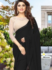 Faux Georgette Black Plain Casual Saree