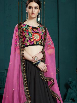 Faux Georgette Black Thread Work Trendy Designer Lehenga Choli