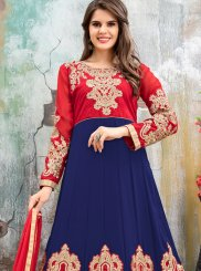Faux Georgette Blue and Red Floor Length Anarkali Suit