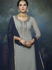 Faux Georgette Blue Designer Palazzo Suit