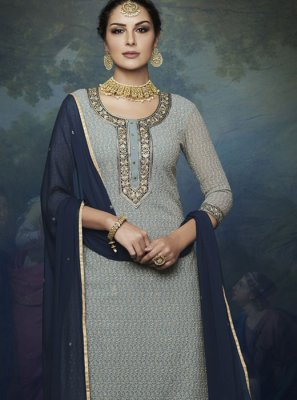 Faux Georgette Blue And Grey Designer Palazzo Suit