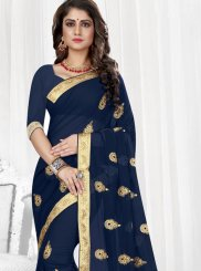 Faux Georgette Blue Designer Saree