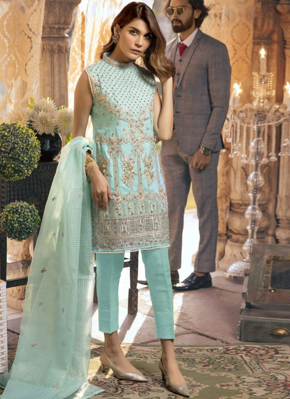 Faux Georgette Blue Designer Suit