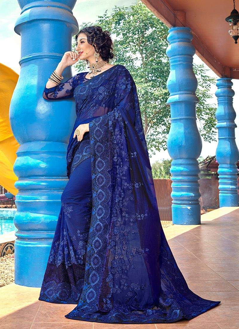 Faux Georgette Blue Embroidered Classic Designer Saree