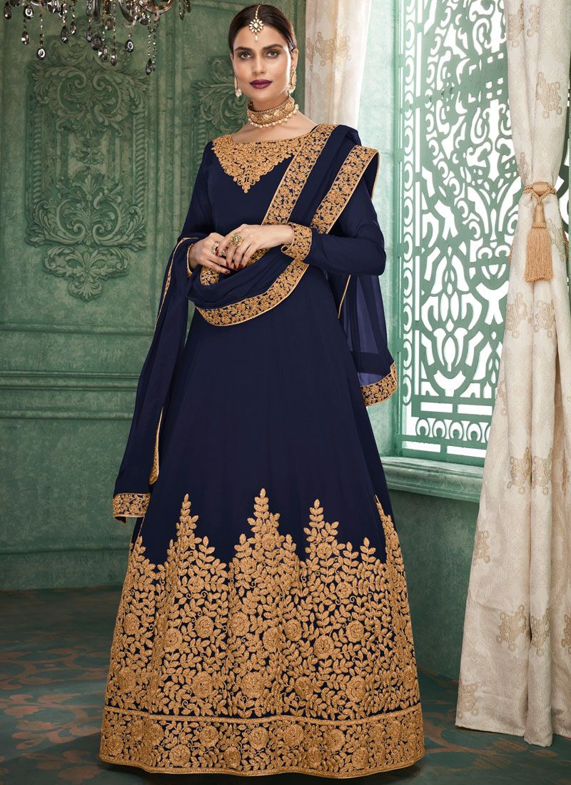 Faux Georgette Blue Embroidered Floor Length Anarkali Suit