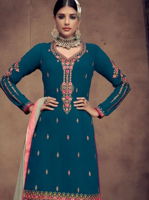 Faux Georgette Blue Embroidered Palazzo Designer Salwar Kameez