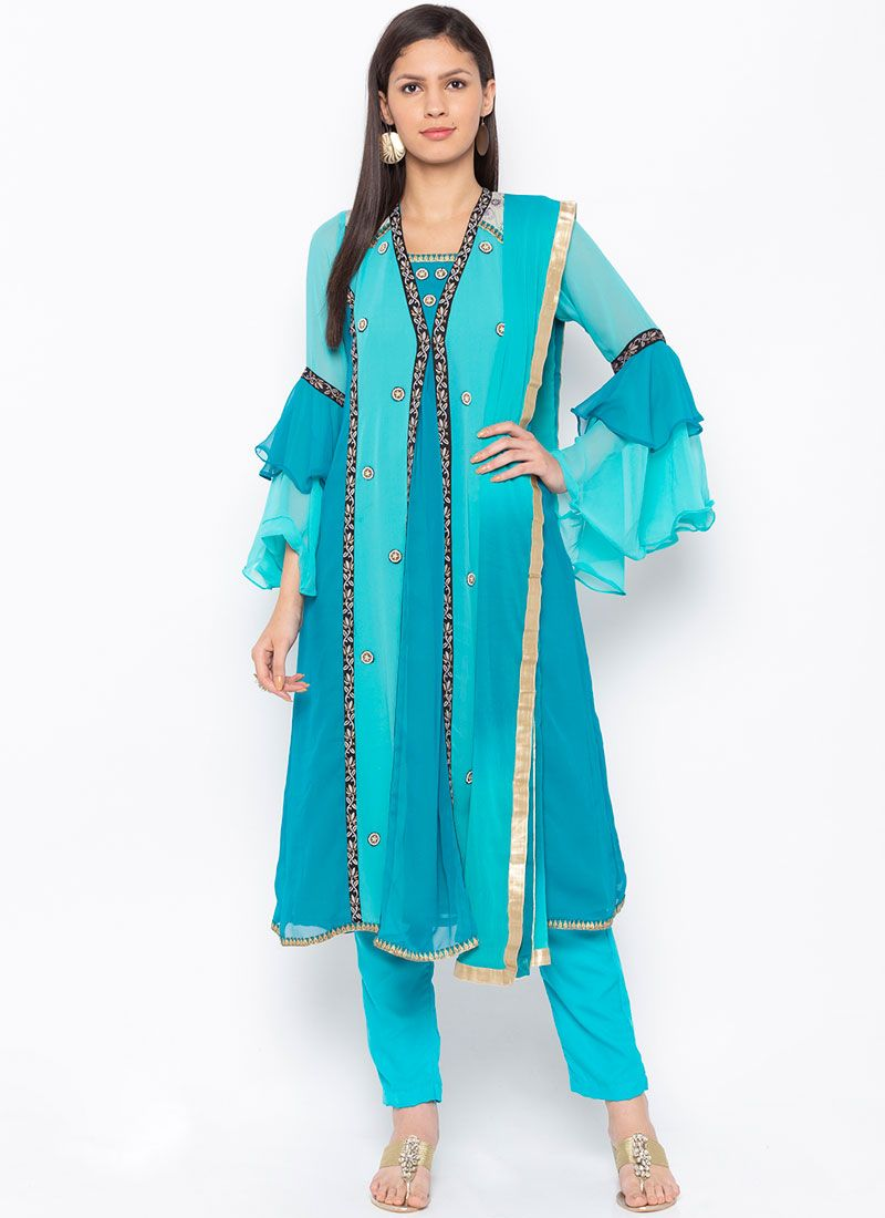 Faux Georgette Blue Embroidered Readymade Suit