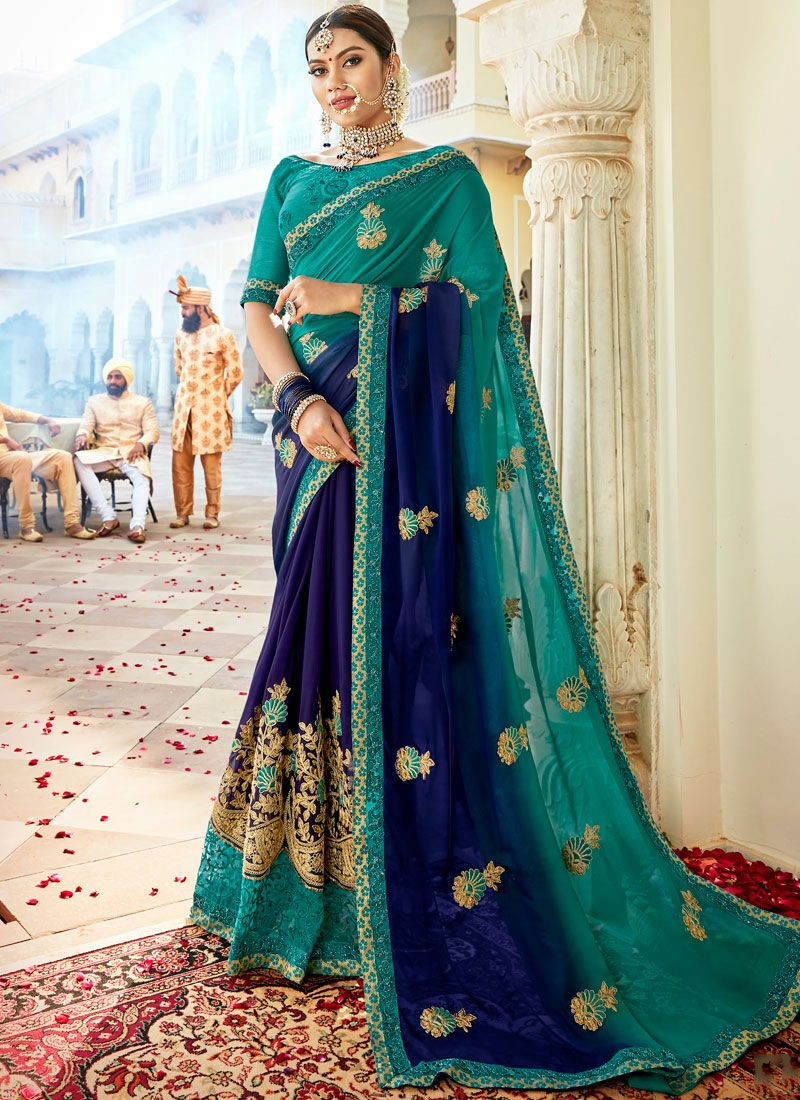 Faux Georgette Blue Embroidered Shaded Saree